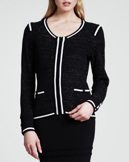 Escada Sparkle-Tweed Jacket, Black/White
