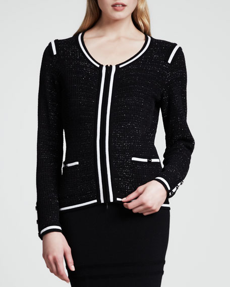 Sparkle-Tweed Jacket, Black/White