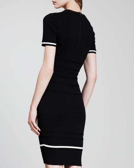 Short-Sleeve Knit Dress, Black