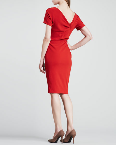 Ruched Ruffle-Side Dress, Orange-Red