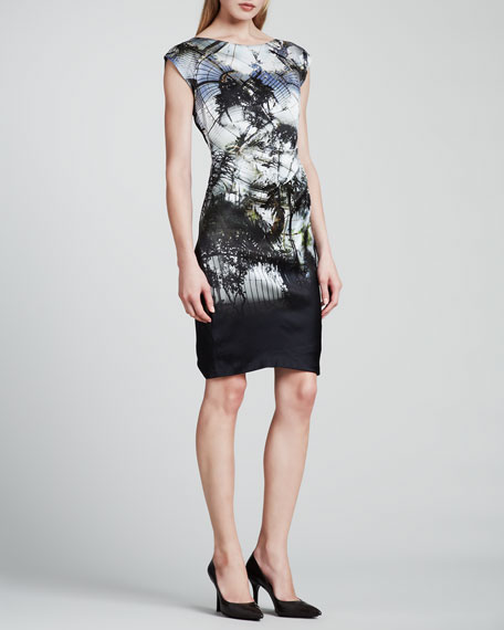 Atrium Place Printed Silk Dress