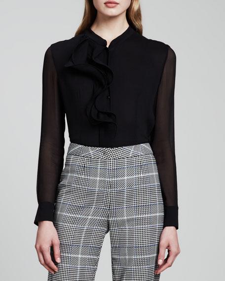 Sheer-Sleeve Ruffled Blouse, Black