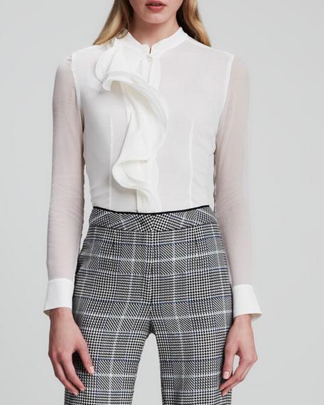 Sheer-Sleeve Ruffled Blouse, White
