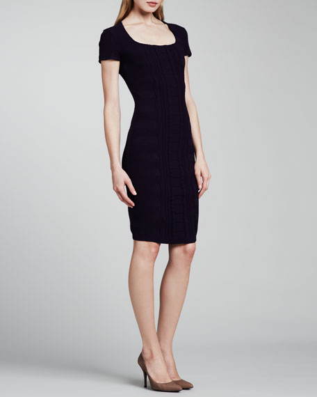 Cap-Sleeve Scuba Knit Dress, Dark Blue