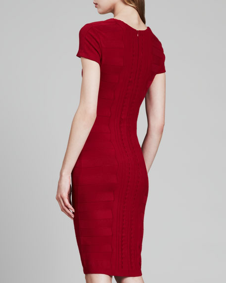Cap-Sleeve Scuba Knit Dress, Dark Red
