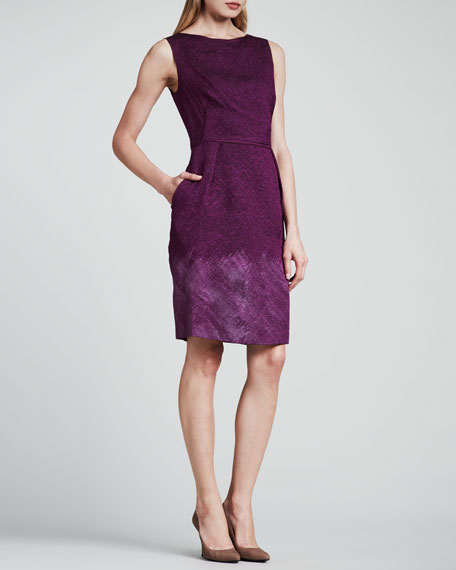 Sleeveless Cloque Dress, Purple