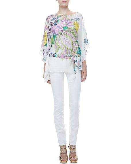 5-Pocket Solid Skinny Jeans, White