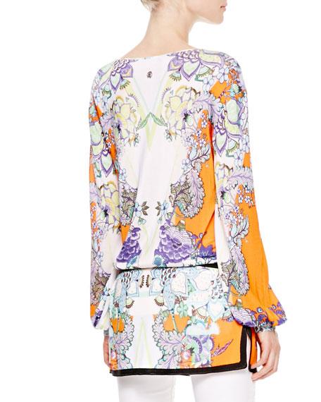 Boat-Neck Floral Tunic, Orange/Violet