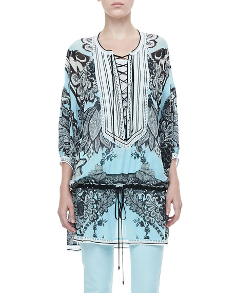 Drawstring-Waist Tunic, Blue/Black