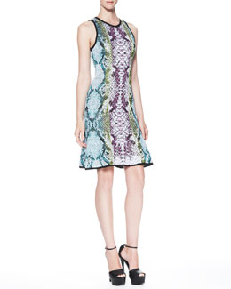 Roberto Cavalli Snake-Print Keyhole-Back Dress