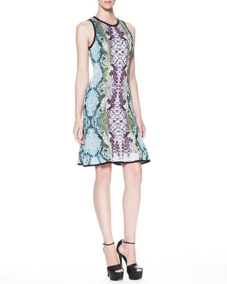 Snake-Print Keyhole-Back Dress