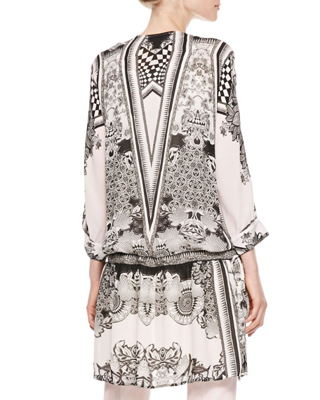 Leather-Bib Printed Georgette Tunic, Black/White
