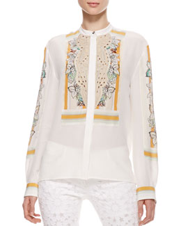 Roberto Cavalli Button-Front Silk Blouse, Cream/Orange