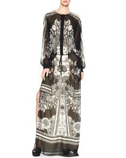 Roberto Cavalli Printed Maxi Caftan Dress