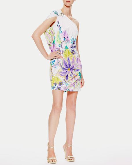 Surya One-Shoulder Pin-Detail Dress