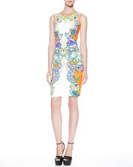 Roberto Cavalli Printed Round-Neck Sheath Dress