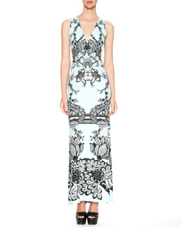 Roberto Cavalli Karma Printed V-Neck Maxi Dress