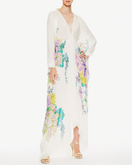 Roberto Cavalli Cutout-Back Maxi Caftan Dress