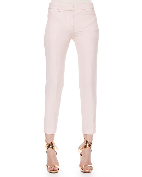 Wool-Linen Ankle Pants, Blush