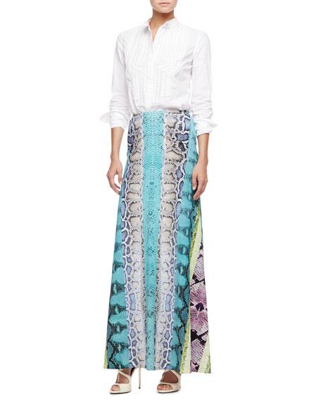 Paneled Snakeskin-Print Maxi Skirt, Turquoise/Multi