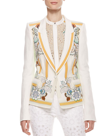 Printed Linen Blazer, Cream/Orange