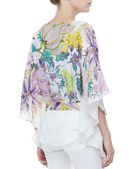 Short Classic Floral Silk Caftan, White/Purple