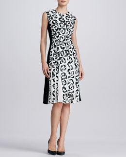 Oscar de la Renta Sequined Floral Dress with Pleats