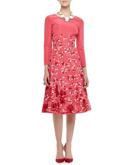 Oscar de la Renta 3/4-Sleeve Floral Silk Dress