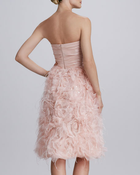 Strapless Organza Feather Dress