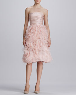Oscar de la Renta Strapless Organza Feather Dress