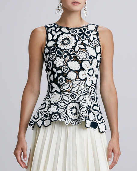 Hand-Crocheted Floral Peplum Blouse