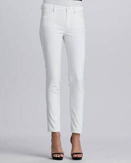 Oscar de la Renta Five-Pocket Skinny Jeans, White