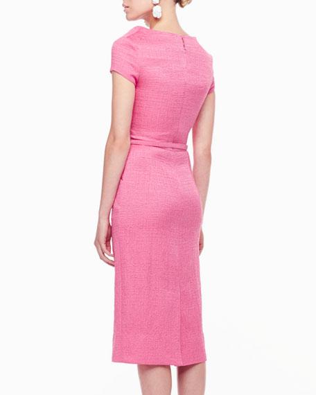 Diagonal-Front Belted Dress