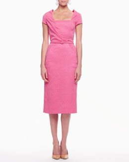 Oscar de la Renta Diagonal-Front Belted Dress