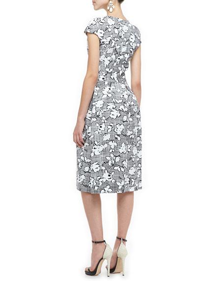 Plaid Floral Cap-Sleeve Dress