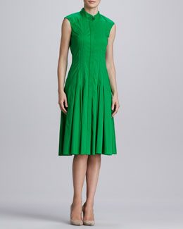 Oscar de la Renta Pleated Stretch-Cotton Dress, Kelly Green
