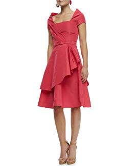 Oscar de la Renta Silk Faille Draped Dress, Amaranth