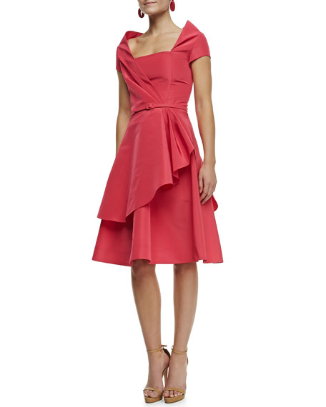 Silk Faille Draped Dress, Amaranth