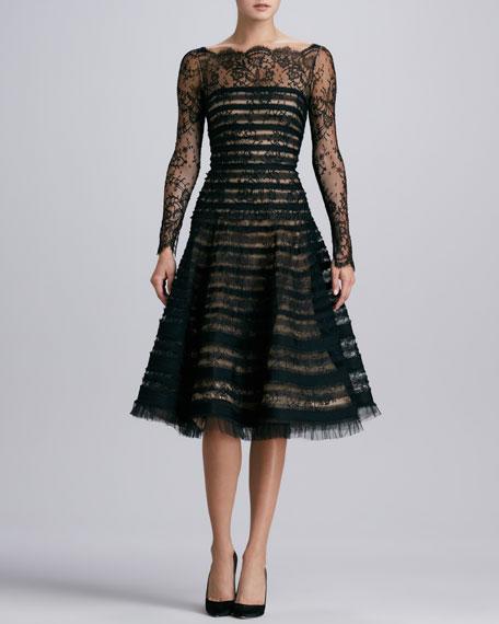 Ribbon-Striped Lace Dress, Black