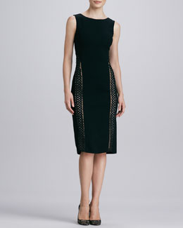 Oscar de la Renta Sleeveless Vertical-Trim Wool Dress