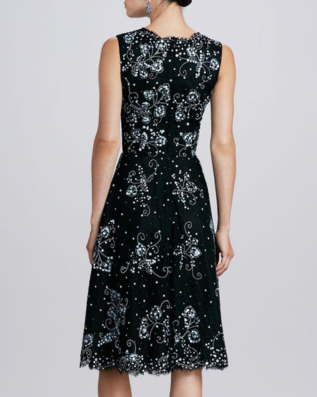 V-Neck Embellished Lace Dress