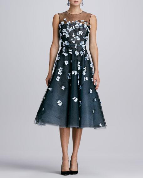 Yoked 3D Floral Dress, Black/Topaz