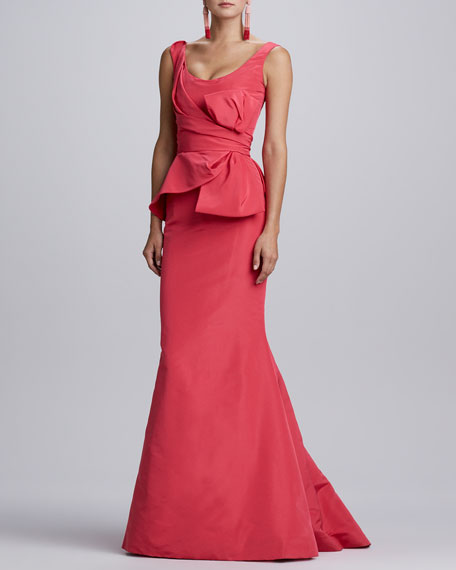 Sleeveless Bow-Waist Gown, Amaranth