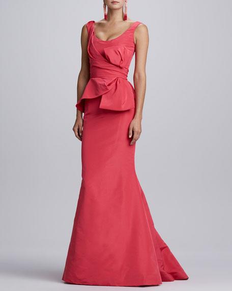 Sleeveless Bow-Waist Gown, Amaranth