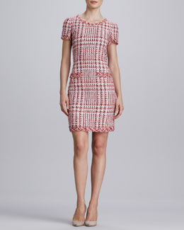 Oscar de la Renta Short-Sleeve Tweed Dress with Pockets