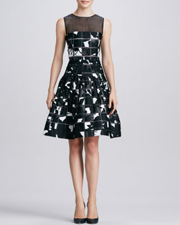 Oscar de la Renta Square Cutout Patterned Dress, Black/White