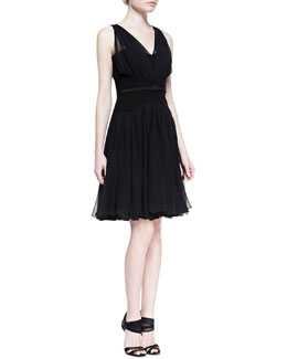 Oscar de la Renta Gathered V-Neck Silk Chiffon Dress, Black
