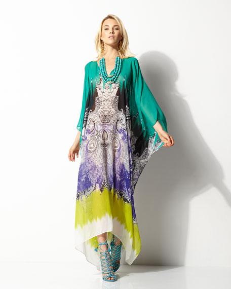 Printed Silk Caftan, Teal/Multi