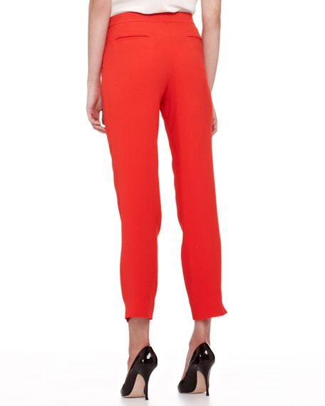 Cady Straight-Leg Capri Pants, Bright Coral