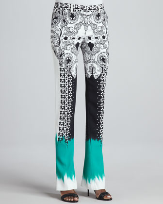 Mixed-Print Flared Pants, Black/White/Green